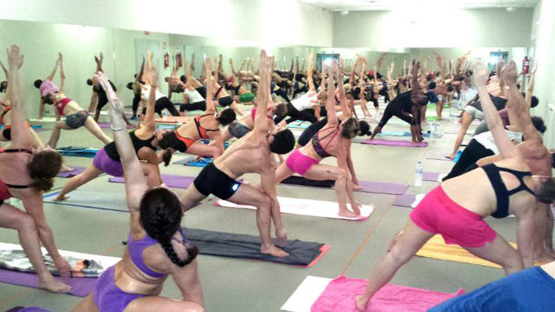 our students in a Bikram Yoga class